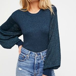 FREE PEOPLE Let It Shine Blue Glitter Pullover L